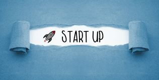 Paper work with rocket and Start Up royalty free illustration