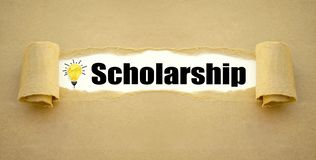 Paper work and chalkboard with scholarship royalty free stock images