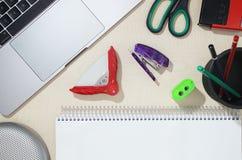 Paper-work tools of pencil, stapler, scissor, pencil sharpener a stock photos