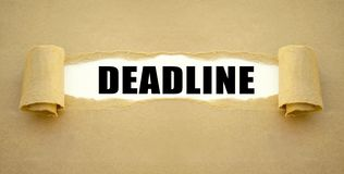 Paper work with word deadline royalty free stock photos
