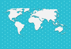 Paper World Map on Blue Background Vector Royalty Free Stock Photos