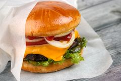 Paper wrapped burger Royalty Free Stock Photos