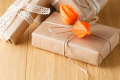 Paper wrapped gift box Royalty Free Stock Photo