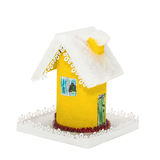 The paper yellow Christmas houses covered snow Stock Images