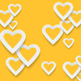 Paper yellow hearts background Stock Images