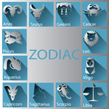 Paper zodiac. Zodiac made ​​of white paper Placed on a blue background with light effects and shadows on the ground Vector Illustration