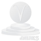 Paper Zodiac sign. Aries - Astrological and Horoscope symbol on. Pedestal Royalty Free Stock Images