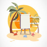 Paperboard on the beach with sunset -  Royalty Free Stock Photography