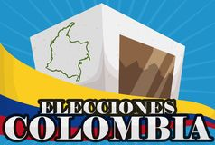 Voting Box with Map and Colombian Flag for Electoral Event, Vector Illustration. Paperboard voting box with Colombian map and tricolor flag for Electoral event Stock Photography