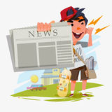 Paperboy character showing newspaper and shouting. paperboy with Stock Image