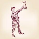 Paperboy het verkopen nieuwsdocumenten vectorllustration Stock Afbeeldingen