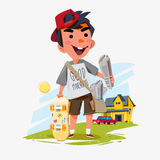Paperboy holding newspaper with his skateboard and people home i Royalty Free Stock Image