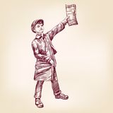 Paperboy selling news papers vector llustration Stock Images
