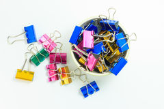 Paperclip in a bowl. Many paperclips in a small bowl Royalty Free Stock Image