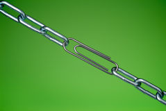 Paperclip and chain Stock Photos