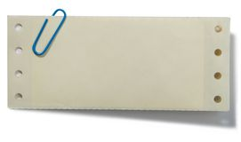 Paperclip en nota Stock Foto's