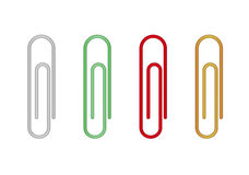 Paperclip. Four paperclips with different color on white background royalty free illustration