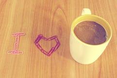 Paperclip met koffiekop Royalty-vrije Stock Foto
