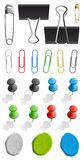 Paperclips. Elements for attaching paper: pin, plasticine and paperclip set Royalty Free Stock Photography
