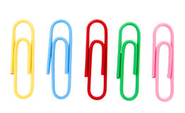 Paperclips 4. Close up of colored paperclips on white background with clipping path Stock Images