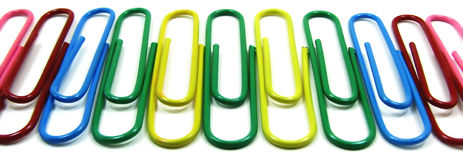 Paperclips. Office paperclips in diferent colors Stock Photo