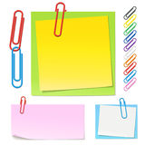 Paperclips and color notes. High detailed different types of notes, paper clips in different colors. Paperclips contains front part and back part so you can Royalty Free Stock Photo