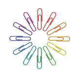 Paperclips color wheel 3d Stock Images