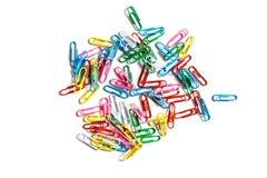 Paperclips coloreados Fotografía de archivo libre de regalías