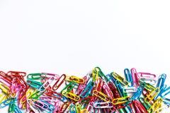 Paperclips coloreados Fotos de archivo