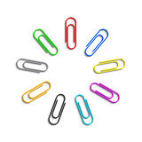 Paperclips coloreados Fotos de archivo