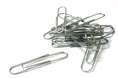 Paperclips Isolated. Pile of paperclips on white Royalty Free Stock Photo