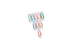 Paperclips na biel issolated tle Obrazy Stock