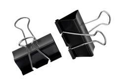Paperclips negros aislados en blanco, trayectoria del metal de recortes Fotos de archivo