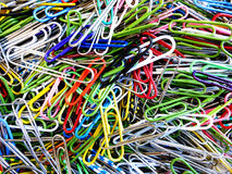 Paperclips in a Pile for Office Use. Supplies closeup Stock Images