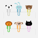 Paperclips set with animal heads. Panda, rabit, dog, cat, lion, bear. Flat design. Royalty Free Stock Photography