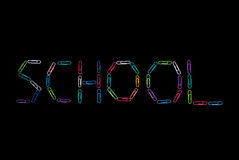 Paperclips Spelling the Word School Stock Photos