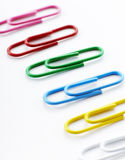 Paperclips on white background. Shot in studio Stock Image