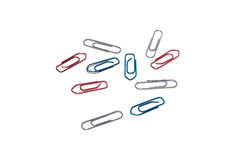 Paperclips on white issolated background. Group paperclips on white issolated background Stock Photos