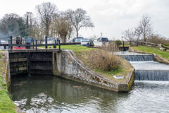 Papercourt Lock on the River Wey Navigations Canal. Papercourt Lock and weir on the River Wey Navigations Canal Stock Photos