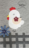 Papercraft Chicken with flower grey background Stock Image