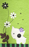 Papercraft Dog with flower in green background Royalty Free Stock Photography