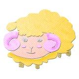 Papercraft engraçado do tecido dos carneiros dos desenhos animados Foto de Stock