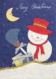 Papercraft merry christmas snowman Royalty Free Stock Image