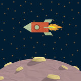 Papercraft rocket  and planet. Vector EPS10 Royalty Free Stock Photos
