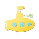 Papercraft submarino amarelo do tecido Imagem de Stock