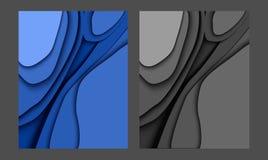 papercut蓝色现代背景2019年 向量例证