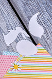 Papercut animalistic silhouettes. Color patterned paper. Easter festive preparations stock photos