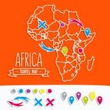 Papercut-Art-Reisekarte von Afrika mit Stiften Lizenzfreie Stockbilder