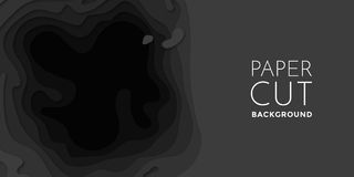 Papercut banner of 3D gradient black paper layers vector pattern background. 3D papercut banner of gradient black paper layers. Vector background design of Royalty Free Stock Photography