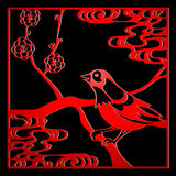 Papercut bird. Papercut frame with bird and flowers in chinese style over black Royalty Free Stock Photos